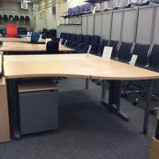 Beech universal wave desk and mobile pedestal