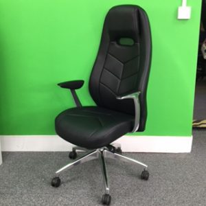 New Seville Black Leather Executive Office Chair, High Back, Adjustable, With Arms