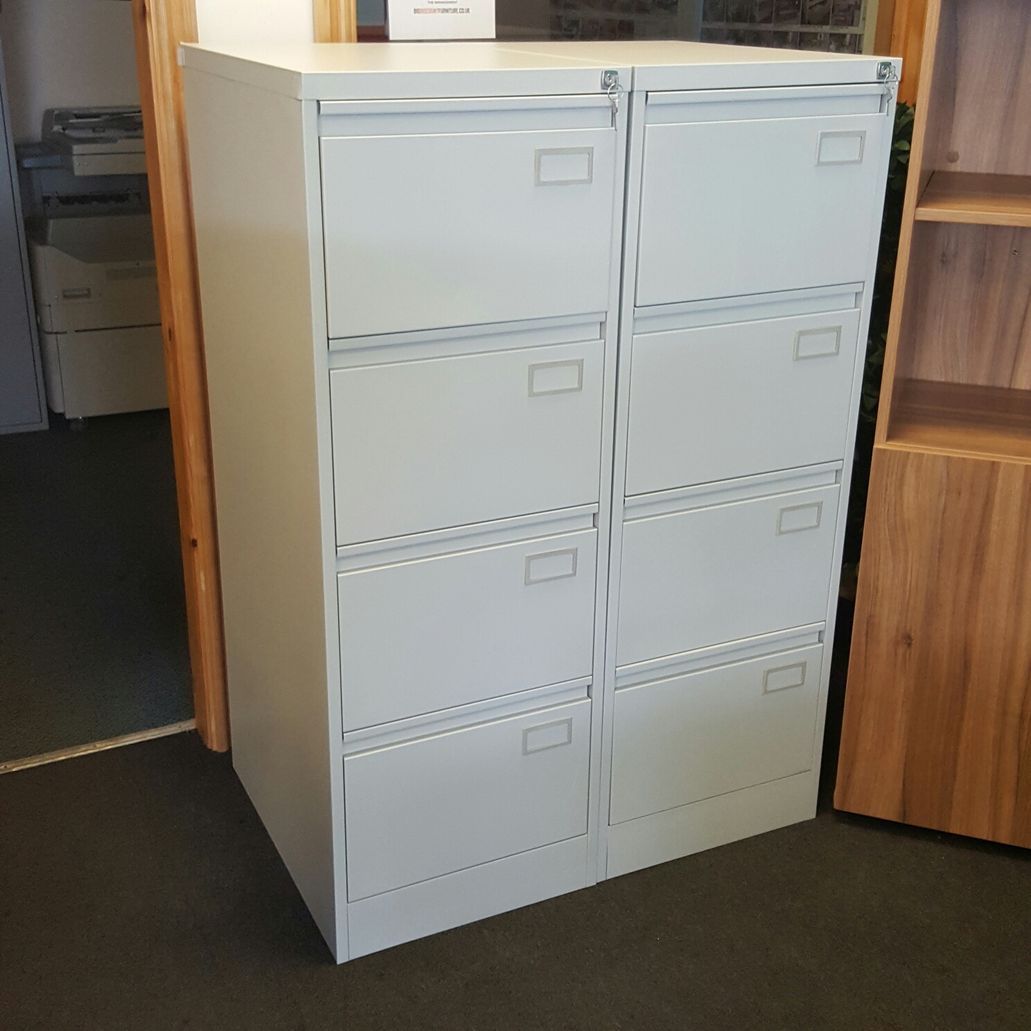 Used Metal 4 Drawer Lockable Office Filing Cabinet In Grey