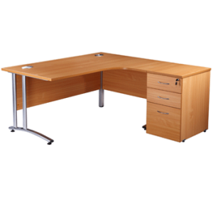 Used office desk in beech with storage
