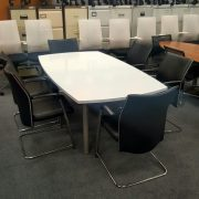White Gloss Conference Table and 6 Conference Chairs