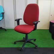 Operators Chair High Back Red Fabric