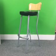 Wooden Backed Black Seated Stool