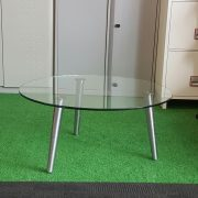 Circle Chrome Glass Coffee Table With Black Cantilever Chairs
