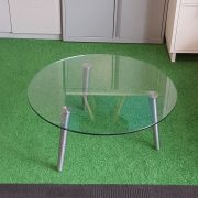 Round Chrome Glass Coffee Table