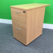 Beech Desk High 2 Drawer Pedestal