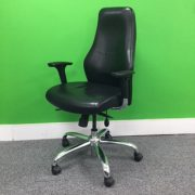 Black Leather High Back Operators Chair