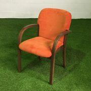 Orange Wood Frame Meeting Chairs