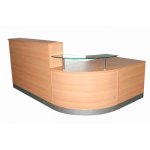 Beech curvved reception desk