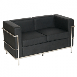 Black faux leather 2 seat sofa
