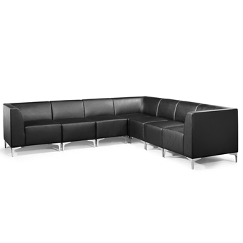 Black Faux Leather Modular Sofa Used Sofas Office