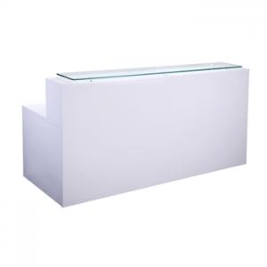 White gloss modern reception desk