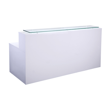 White gloss modern reception desk