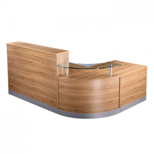 walnut corner reception desk counter