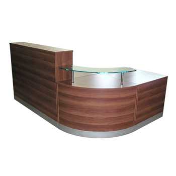Curved walnut reception counter