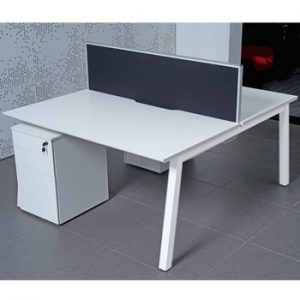 White Frame Bench Desks