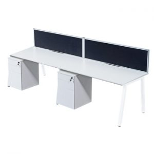 Single Bench Desks with White Frame