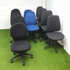 Used / Second Hand Set of 12 Operator / Office Chairs, Without Arms, Adjustable,