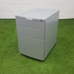 Used / Second Hand Metal Mobile Pedestal, Under Desk, Grey, 3 Drawer, Lockable.