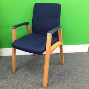 Used Dark Blue Fabric Conference / Meeting Chair, Wood Frame, Armrests