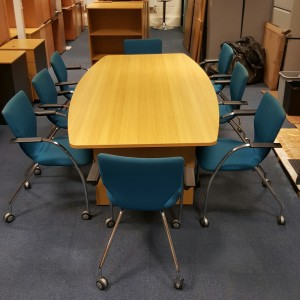 Used Boat Shape Boardroom Table + 8 Orangebox Blue Meeting Chairs