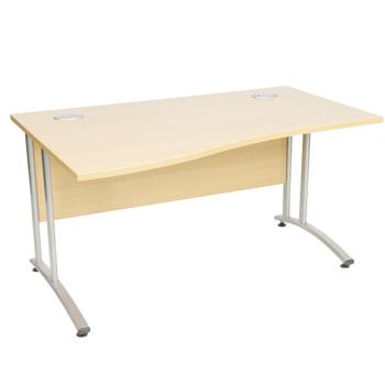 Endurance Wave-Shape Office Desk, 2 Sizes – Light Oak/Beech (New)