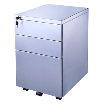 Endurance Metal Mobile Office Pedestal, Under Desk, 3 Drawer – White / Silver (new)