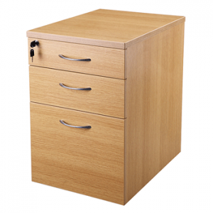 New Endurance MFC Office Pedestal, 3 Drawer, Under Desk, Lockable, Light Oak / Beech.
