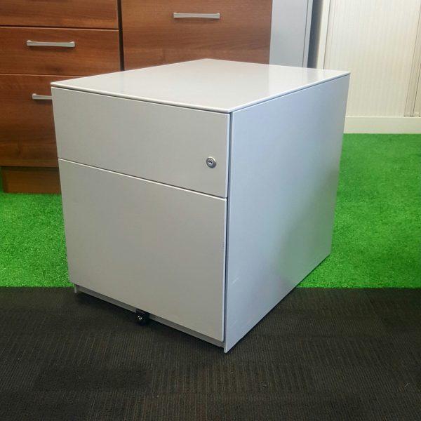 Used Metal Mobile 2 Drawer Under Desk Pedestal For Office Storage