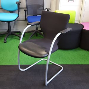 Used Orangebox Go Meeting Chair, Cantilever Frame, Stackable, Black