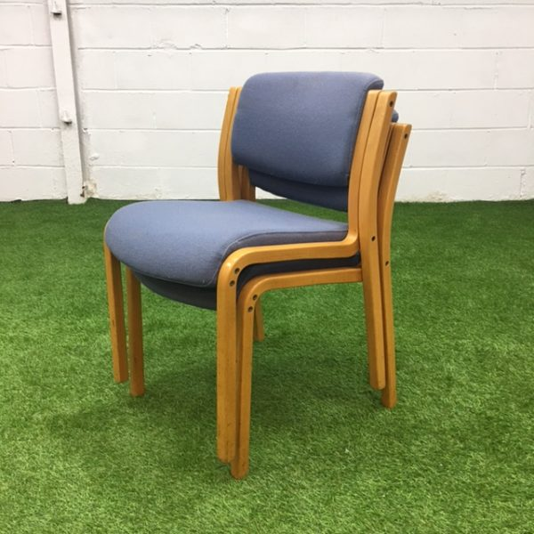 Used Grey Stackable Meeting Chair, Padded Seat, Armrests, Wood Frame