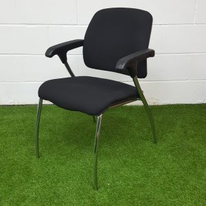Used Office Meeting Chair in Black, Chrome Frame, Armrests, 4 Legged