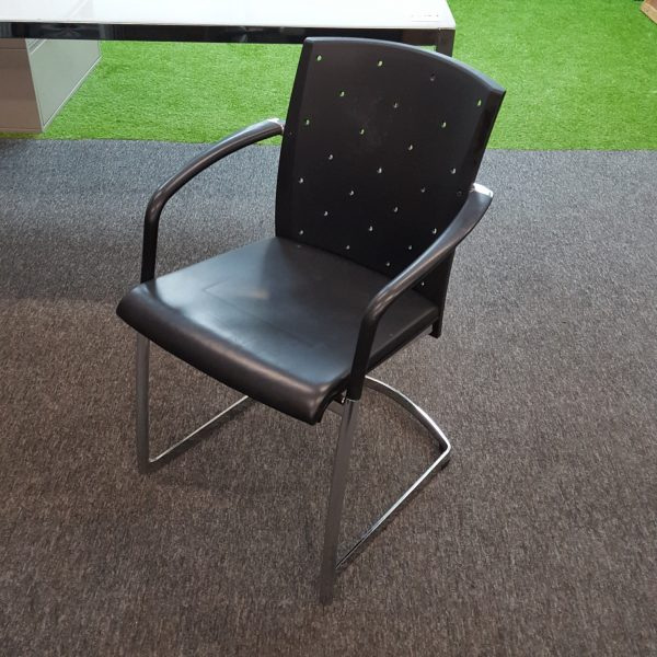 Used Tensa Konrad Designer Office Meeting Chair, Armrests, Black, Stylish