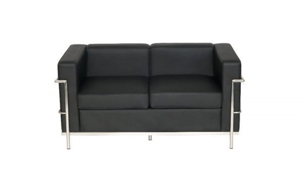 Corbusier style reception 2 seat sofa front