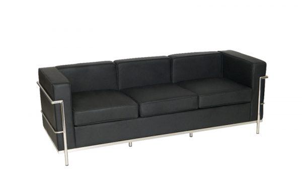Corbusier style reception 3 seat sofa