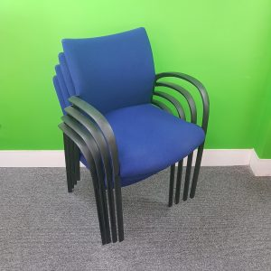 Used Senator Designer Meeting Chair, Stackable, Blue Seat, Armrests
