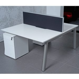 White Back to Back Bench Desks