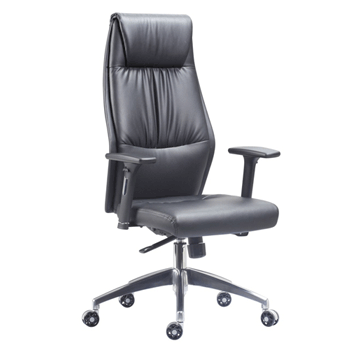 Executive Office Chair, Black, With Arms, High Back, Faux Leather (new)