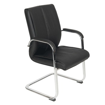 Executive Conference / Meeting Chair, Black, Faux Leather, Chrome Legs (new)