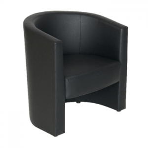 Black faux leather tub chair