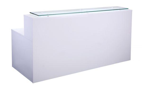 White Glass Top Reception Desk