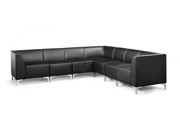 Modular Faux Leather Sofa Arrangement