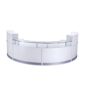 Curved Modular Reception Counter In White Gloss Reception Counters