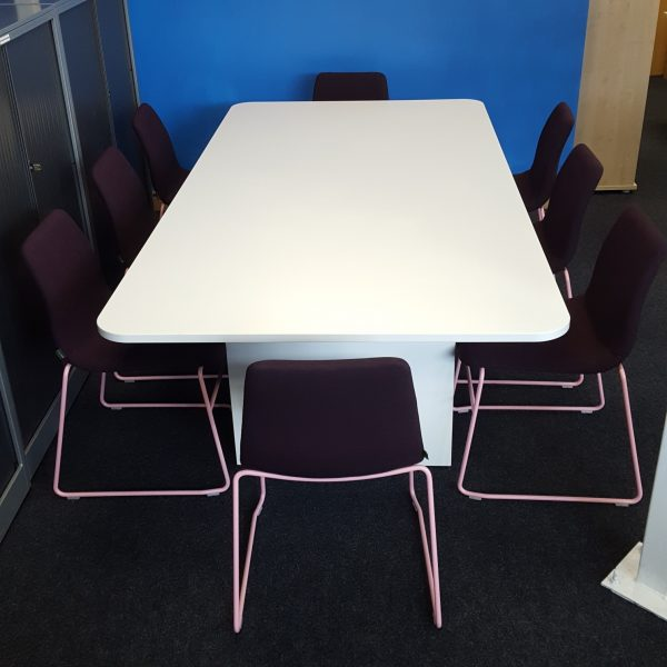 Used 8 Person Modern White Conference / Meeting Table, Rectangular