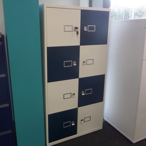 Bisley Lateralfile Metal Storage Locker, 8 Compartment, White / Dark Teal