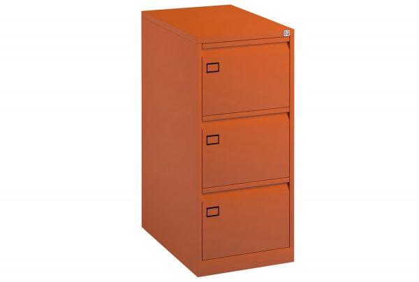 Orange Bisley Economy Metal Filing Cabinet 3 Drawer