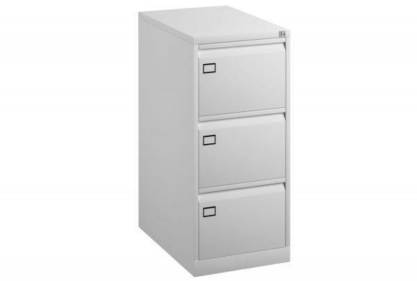 White Bisley Economy Metal Filing Cabinet 3 Drawer