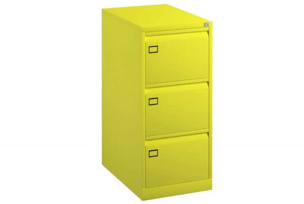 Yellow Bisley Economy Metal Filing Cabinet 3 Drawer