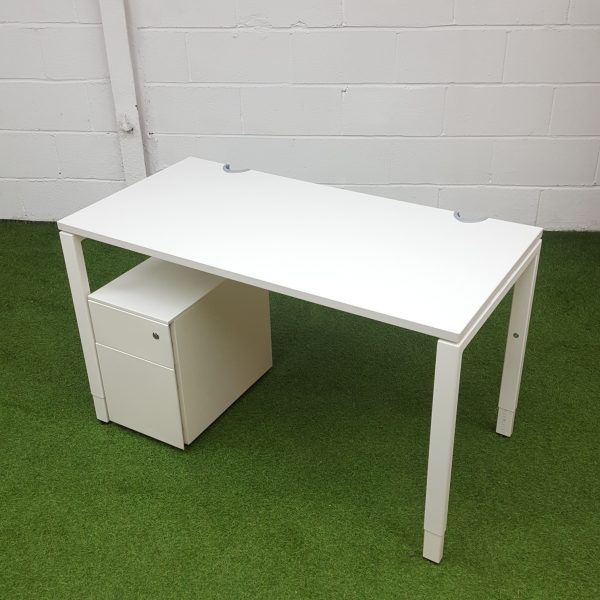Used Haworth Height Adjustable Desk & Pedestal Drawers, White