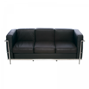 Brown Le Corbusier Style 3 Seater Sofa, Chrome Frame